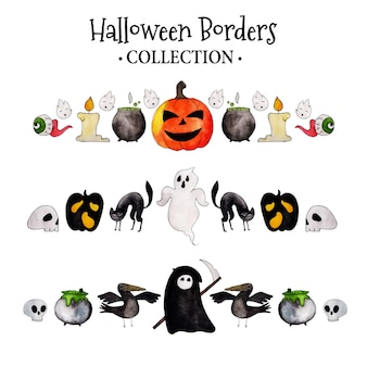 Colección acuarela borders de halloween