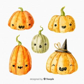 Colección acuarela de calabaza de halloween