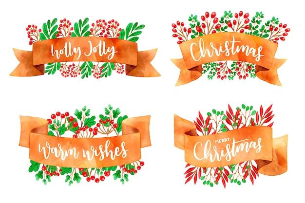 Colección de acuarela cinta navideña