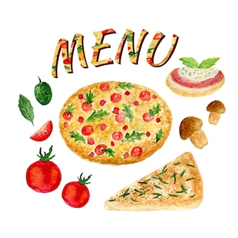Colección de acuarela de conjunto de pizza aislado. ingredientes italianos establecidos para el menú. tomate, aceituna, bruschetta, focaccia, champiñón y albahaca