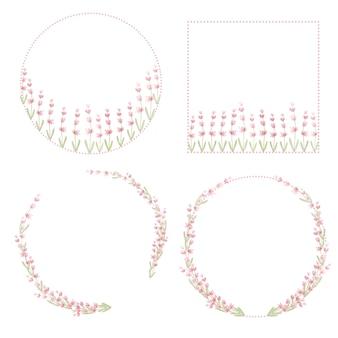 Colección de acuarela corona de lavanda rosa