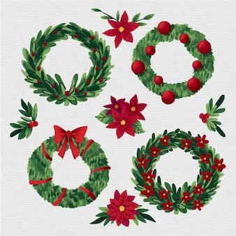 Colección de acuarela corona de navidad
