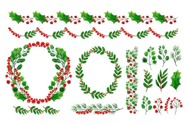 Colección acuarela de decoraciones navideñas