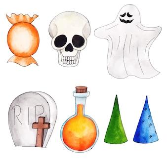 Colección de acuarela de elementos de halloween