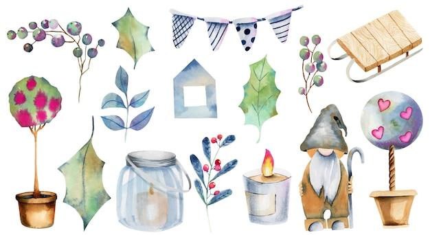 Colección de acuarela de elementos navideños, dibujado a mano aislado sobre fondo blanco