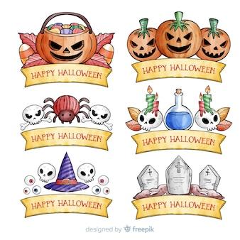 Colección acuarela de etiquetas de halloween