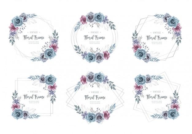 Colección acuarela flor marco plata