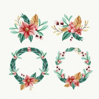 Colección de acuarela flor de navidad y corona