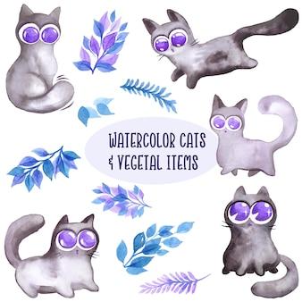 Colección acuarela de gatos y hojas