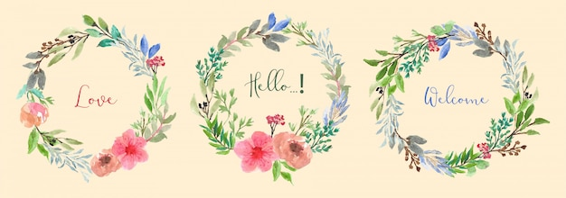 Colección de acuarela de guirnalda floral