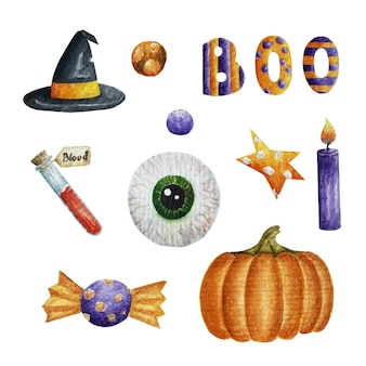 Colección de acuarela de halloween