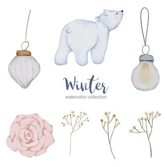 Colección de acuarela de invierno con artículos de uso doméstico y oso blanco