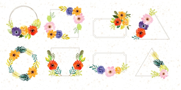 Colección de acuarela de marco de flor tropical