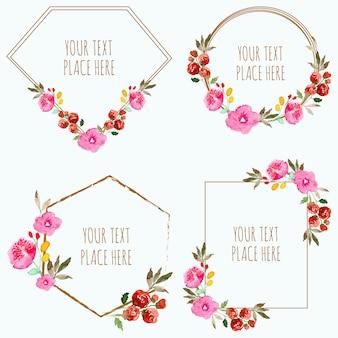 Colección de acuarela marco floral