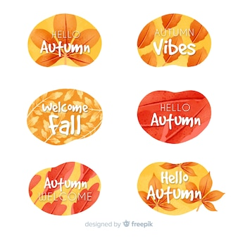 Colección acuarela otoño etiqueta
