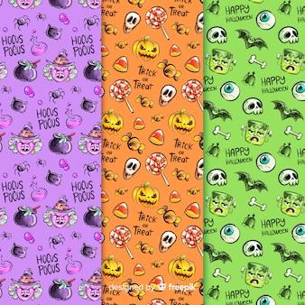 Colección de acuarela patrón de halloween