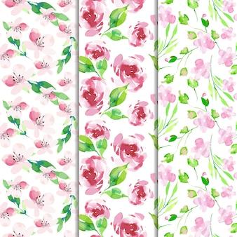 Colección acuarela de patrones de primavera