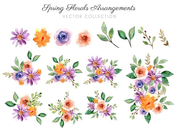 Colección de acuarela de ramo de arreglos florales de primavera