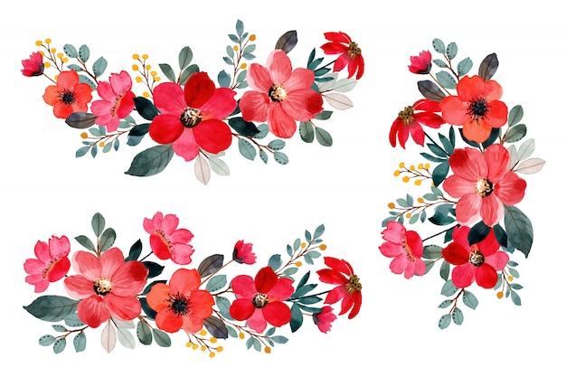 Colección de acuarela ramo de flores rojas