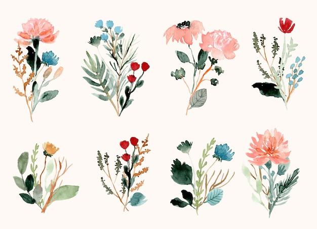 Colección de acuarela de ramo de flores silvestres