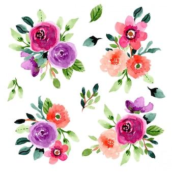 Colección de acuarela ramo de flores
