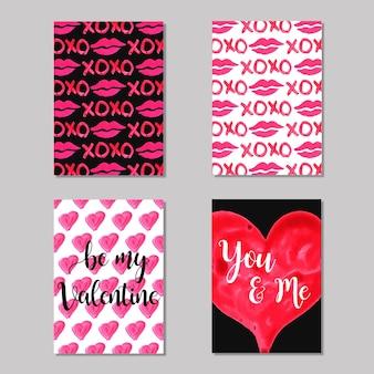 Colección acuarela de tarjetas de san valentín
