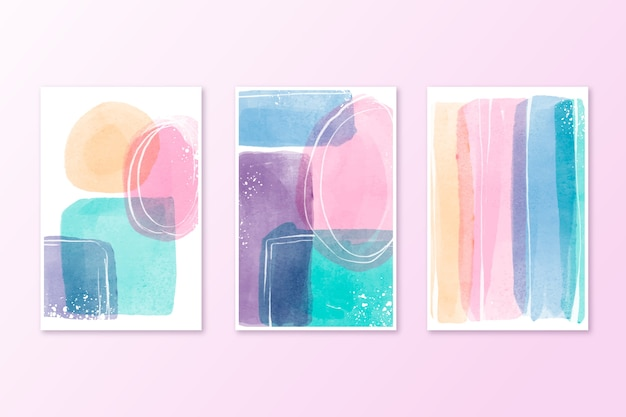 Colección de acuarelas cubre colores pastel