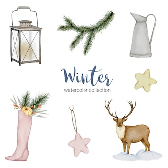 Colección de acuarelas de invierno con jarras, linternas, ciervos y zapatos.