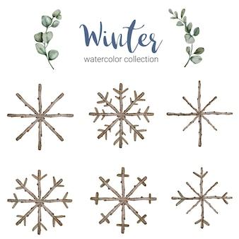 Colección de acuarelas de invierno con ramas que simbolizan la acuarela fresca de invierno.