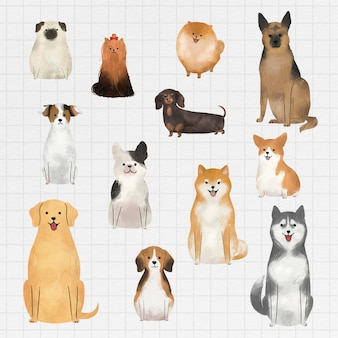 Colección de acuarelas de perros amigables
