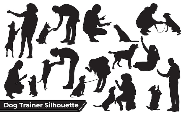 Colección de adiestrador de perros de animales en diferentes posiciones.
