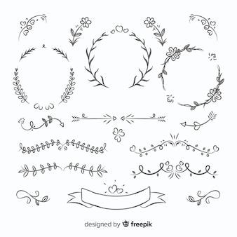 Colección adorable de adornos de boda dibujados a mano
