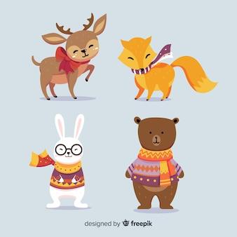Colección adorable de animales de invierno