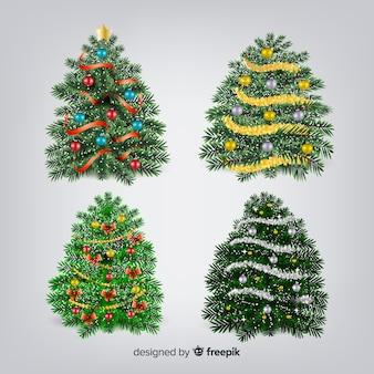 Colección adorable de árboles de navidad con diseño realista