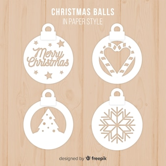Colección adorable de bolas de navidad con estilo de papel