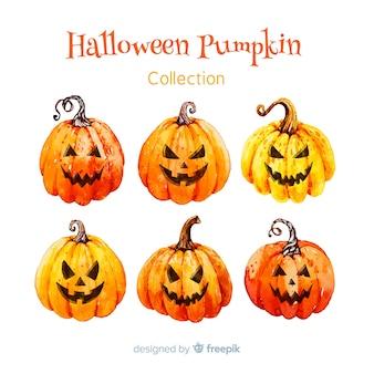 Colección adorable de calabazas de halloween en acuarela