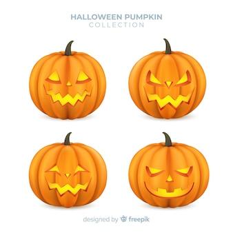 Colección adorable de calabazas de halloween con diseño realista