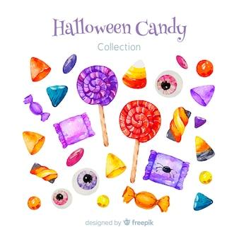 Colección adorable de caramelos de halloween en acuarela