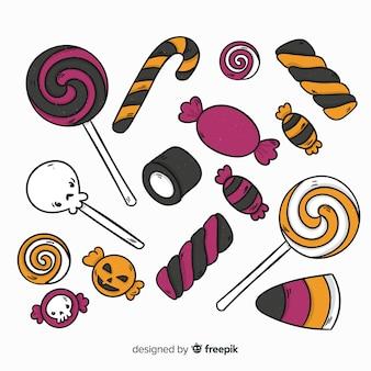Colección adorable de caramelos de halloween dibujados a mano