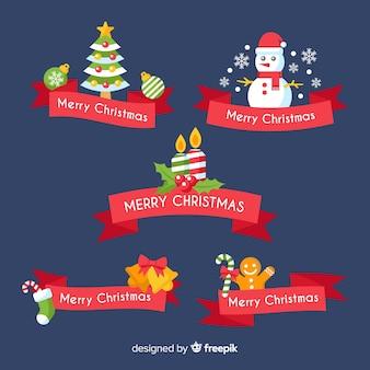 Colección adorable de cintas de navidad con diseño plano