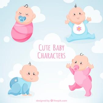 Colección adorable de cuatro bebés