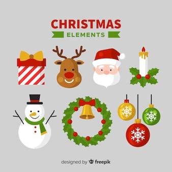 Colección adorable de elementos de navidad con diseño plano