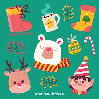 Colección adorable de elementos de navidad dibujados a mano