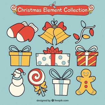 Colección adorable de elementos de navidad