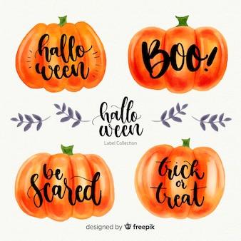 Colección adorable de etiquetas de halloween en acuarela