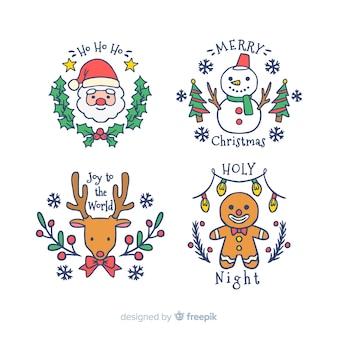 Colección adorable de etiquetas de navidad dibujadas a mano