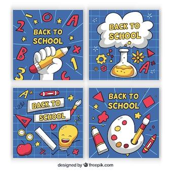 Colección adorable de tarjetas de colegio dibujadas a mano