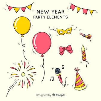 Colección adorable de elementos de fiesta de fin de año dibujados a mano