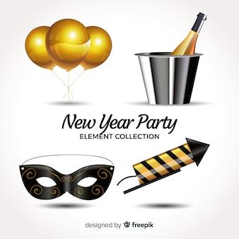 Colección adorable de elementos de fiesta de fin de año realistas