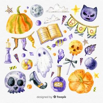 Colección adorable de elementos de halloween en acuarela